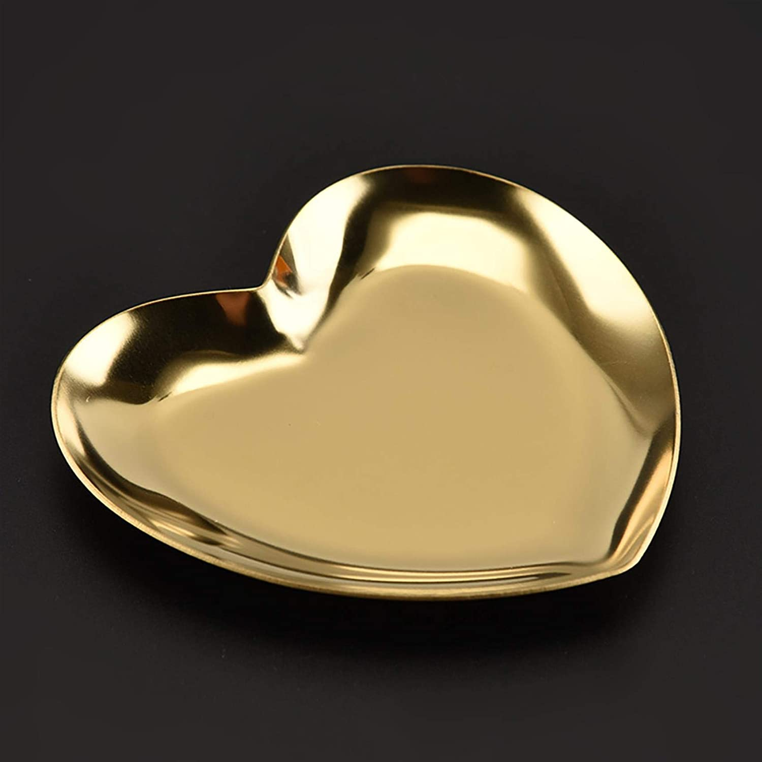 BoloLi Stainless Steel Heart Shape store Regular store Holder Dish Jewelry Ring Tray