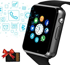 Janker Smart Watch, Bluetooth Smartwatch Unlocked Watch Phone with SIM Card Slot Camera Pedometer Touch Screen Music Player Wrist Watch Android iOS Phone Compatible for Men Women,Black