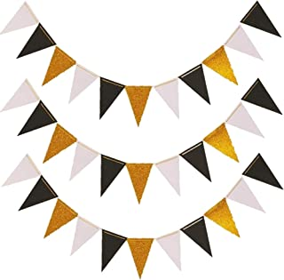 Triangle Flag Bunting Banner, MerryNine 3 Pack 30 Feet Vintage Style Pennant Banner for Wedding, Baby Shower, Event & Party Supplies 45pcs Flags (Triangle Flag - Black White Gold Glitter)