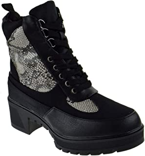 Top Moda Bassett Womens Chunky Heel Side Zipper Platform Combat Boots