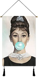Breakfast at Tif_fanys Poster Audrey Hepburn Tapestry Vintage Movie Wall Hanging Art for Living Room Bedroom Blue Decor Birthday Gift 16x24in