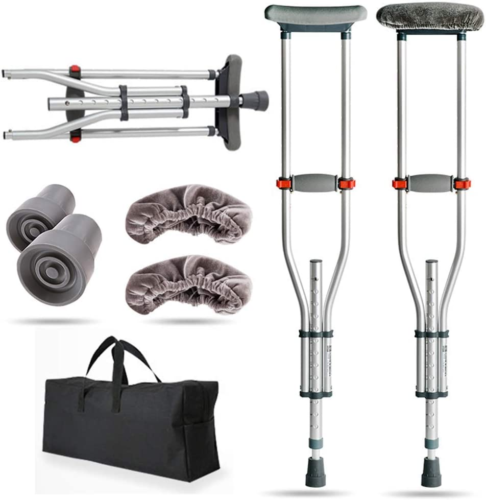Folding Underarm Adult Now free shipping Crutches Pair Austin Mall Height Adjustable Porta 24