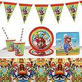 Gxhong Stoviglie per Feste di Compleanno, Set di Decorazioni per Feste, Kit Party Tavola Super Mario Bambini Compleanno Articoli, tovaglia Addobbi Party, per Bambini 10 Ospiti (52 Pezzi)