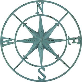 PD Home & Garden Distressed Metal Compass Rose Indoor/Outdoor Wall Hanging, Blue