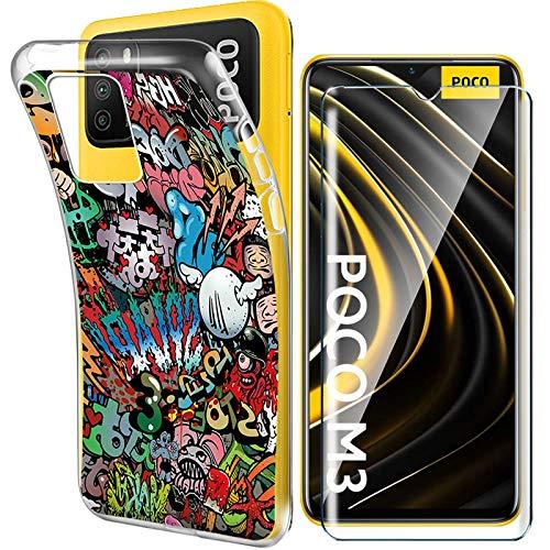 """HYMY Per Xiaomi Poco M3 Cover Vetro Temperato (6.53"""") - Custodia in Silicone TPU - Back Case Protezione Cellulare Trasparente Bumper 9H Pellicola Protettiva"""