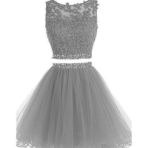 633438e808d4 Dydsz Women s Prom Dress Short Homecoming Party Dresses 2 Piece Beaded  Cocktail Gown D127