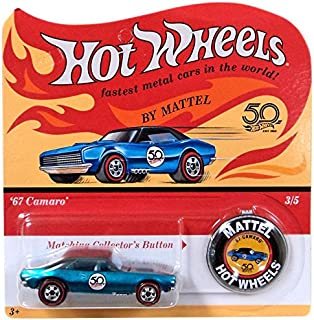 Hot Wheels 2018 50th Anniversary Originals 3/5 - '67 Camaro (Blue) with Button
