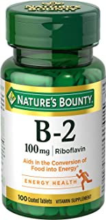 Nature's Bounty Vitamin B2 as Riboflavin Supplement, Aids Metabolism, 100mg, 100 Tablets (Pack of 3)