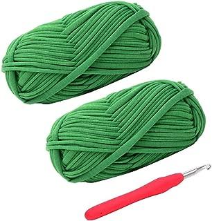 Knitting Yarn Fabric Cloth T-Shirt Yarn Carpet Yarn for Hand DIY Bag Blanket Cushion Crocheting Projects, Pack of 2 Skeins, 3.5 Ounce x 2, 35 Yard x 2, One Crochet Hook (Green)