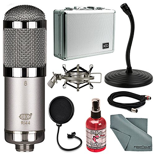 MXL R144 HE Heritage Edition Ribbon Microphone Bundle with Pop Filter, Stand, Sanitizer, Cable, FiberTique Cleaning Cloth