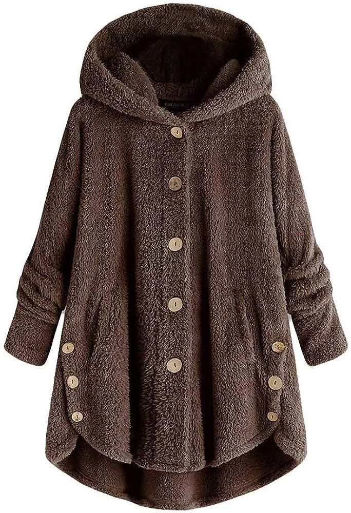 Womens Solid Color Hoodies Autumn Long Sleeve Fleece Button Sweater Tail Tops Loose Warm Sweatshirt Winter Fashion Coat