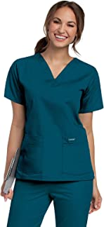 بلوزة/ قميص زي طبي بقماش متين ومريح وقبة V و4 جيوب للنساء من لاندو
