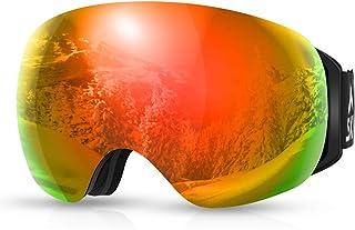 SKL Skidglasögon, OTG snowboardglasögon, snöglasögon med magnetisk utbytbar sfärisk lins, anti-imma och UV400-skydd och hj...