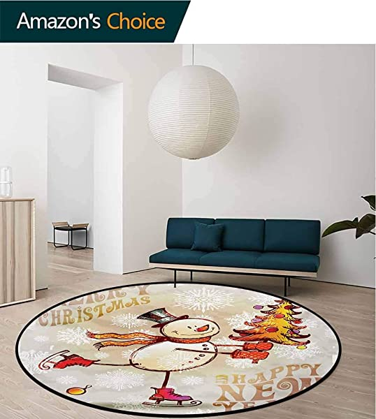 RUGSMAT Christmas Modern Washable Round Bath Mat Skating Happy Snowman With Christmas Tree Cheerful Hand Drawn Ornate Snowflakes Non Slip Bathroom Soft Floor Mat Home Decor Round 31 Inch