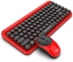 Wireless Keyboard and Mouse, Small Keyboard and Mouse Combo, 2.4GHz Wireless Simple Connect, Red