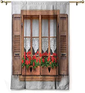 Rod Pocket Blackout Curtains Country,Print of Old European Windows with Shutters and Flowers Pots in Rurals Boho,Brown White Red,28