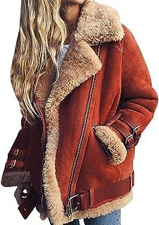 KINLOU Abrigo para Mujer - Solapa Cremallera Chaqueta De Piel SintéTica Chaqueta Borrosa Ropa De Abrigo con Bolsillos