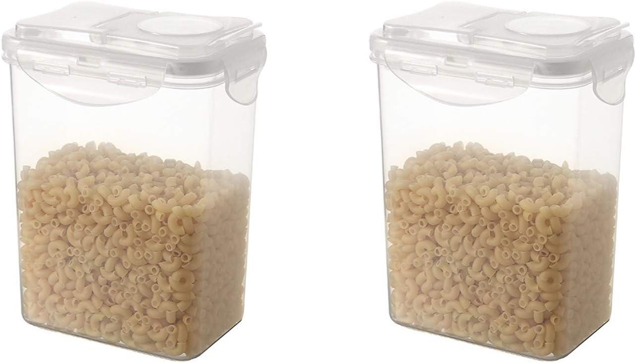 2 Set de Cajas de Almacenaje para Comida, Botes para Alimentos, Contenedor de almacenamiento con tapa hermética,Botes Cocina de Alimentos Herméticos para Cereales Harina, Pastas, Café
