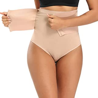 WOWENY Thong Shapewear Stomach Shaper for Women high Waist Thong Waist Cincher Shaper Slimmer Tummy Control Panties