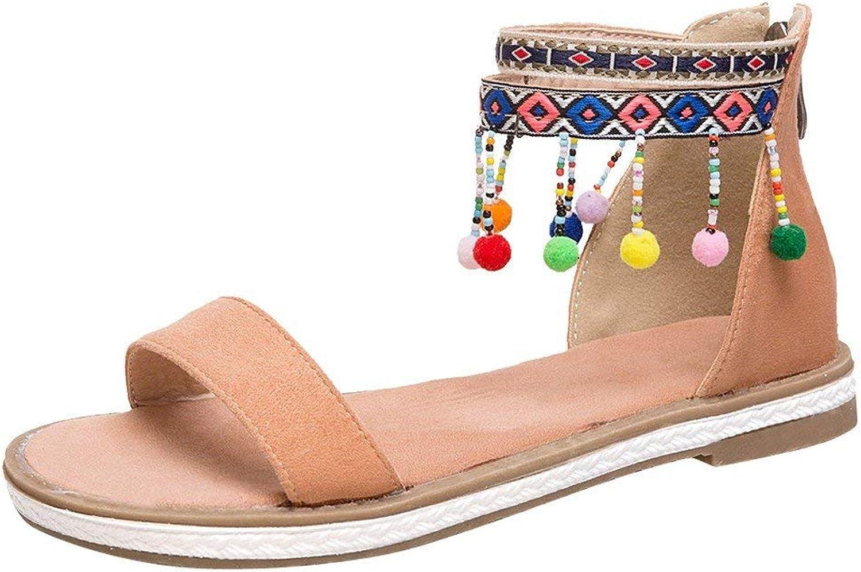 Gcanwea Women's Bohemia Zipper Open Toe Multicolor Flat Sandals Dress Breathable Suede Comfortable Sweet Girls Simple Stylish Lightweight Summer Apricot 4.5 M US Flat Sandals