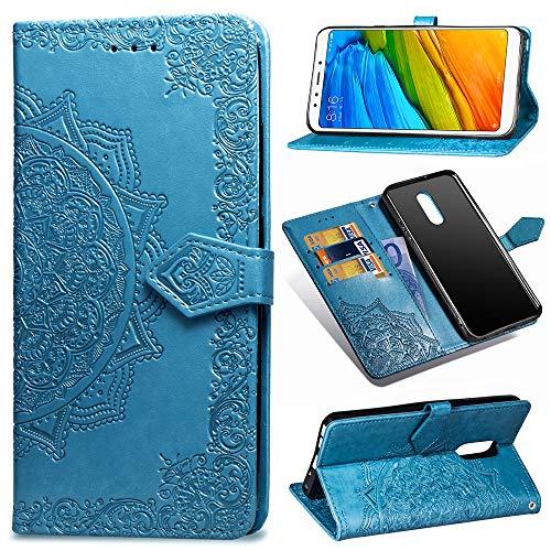 MRSTER Funda Compatible con Xiaomi Redmi 5 Plus, PU Cuero Flip Folio Carcasa, Cierre Magnético, Función de Soporte, Billetera PU Cuero Funda para Xiaomi Redmi 5 Plus. SD Mandala Blue
