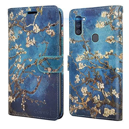 CoverON Wallet Pouch for Samsung Galaxy A11 Case with Screen Protector, RFID Blocking Flip Folio Stand Leather Phone Cover - Almond Blossom