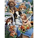Pintura Por Numeros Diy Dog Set Painting Animal Wall Painting Decoración Para El Hogar A6(40X50Cm Sin Marco)