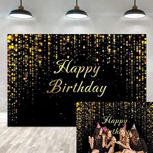 Fondo para fiesta de cumpleaños, color negro y dorado con p