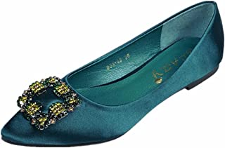 ANBOVER Women's Rhinestone Pointy Toe Ballet Flats Office Flat Comfortable Work Shoes