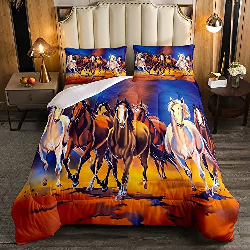 Erosebridal Horse Bedding Comforter, Galloping Horse ComforterSet Twin Size, Oil Painting Style DownComforter for Kids Adult Women, Microfiber Western Cowboy QuiltedDuvet for Living Room