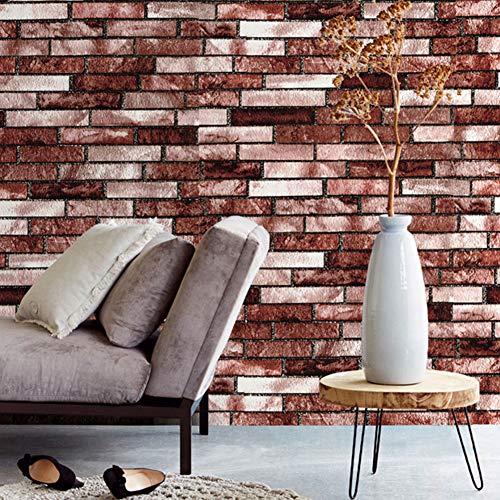 SGSG Rote Selbstklebende Tapete Vintage Backsteintapete Rustikale Kontaktpapierrolle für dekorative Wandaufkleber Kontaktpapierrolle für Küche, Schlafzimmer und Wohnzimmer 0,45 * 6 m