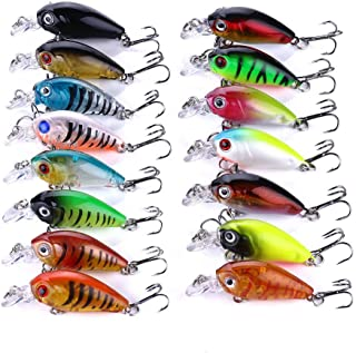 16 pcs Mixed Minnow Fishing Lures Bass Crank Bait Treble hook Baits Fishing Lure Bass Lures Trout Salmon with 2 Sharp Treb...