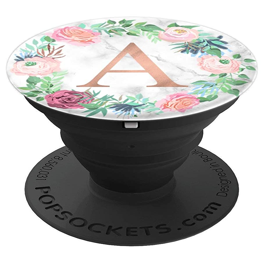 Rose Gold Letter A Marble PopSocket Floral Initial A - PopSockets Grip and Stand for Phones and Tablets b075953765