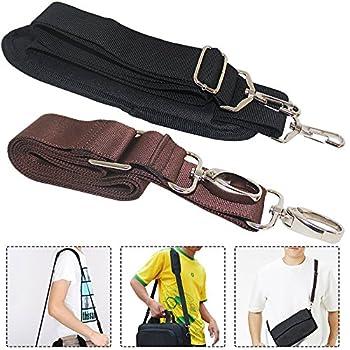 2 Packs Universal Replacement Shoulder Straps AFUNTA 57  59  Adjustable Bag Belts with Metal Swivel Hooks for Luggage Duffel Bag Laptop Case - Black Brown