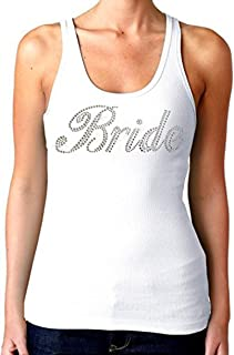 Bridal Party Rhinestones Tank Top White (Juniors) S-XL