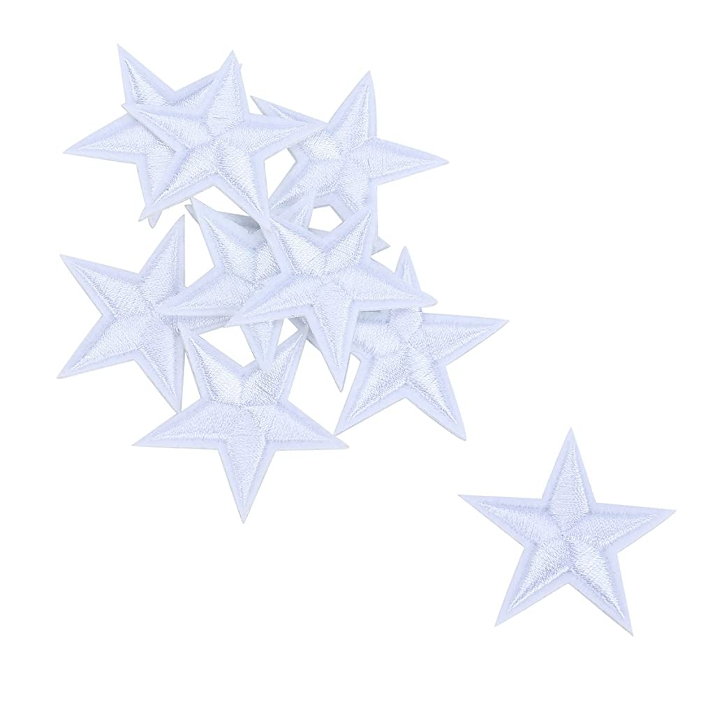 HOUSWEETY 10pcs White Star Embroidered Iron On/Sew On Badge Applique Patch