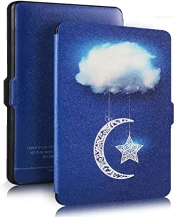ROSENICE Genuine Leather Protective Cover with Auto Wake or Sleep for Amazon Kindle Paperwhite (Sky Clouds)