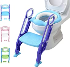 Potty Training Toilet Seat with Step Stool Ladder for Kid and Baby, Adjustable Toddler Toilet Training Seat with Soft Anti-Cold Padded Seat, Safe Handles and Non-Slip Wide Steps, Purple Blue for Boys