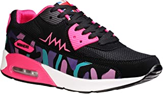 wealsex Baskets Chaussures Jogging Course Gym Fitness Sport Lacet Sneakers Style Running Multicolore Respirante Femme(Noir et