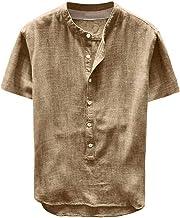 NOBRAND Camisa de verano para hombre con botones de cáñamo puros y manga corta, algodón y lino con bolsillos Harajuku grande jersey blusa superior caqui