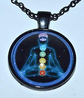 "7 Chakra Pendant Necklace | 1.25"" Inch | Absorbs negativity spreads positivity | Heart chakra root chakra crown | 7 chakra..."