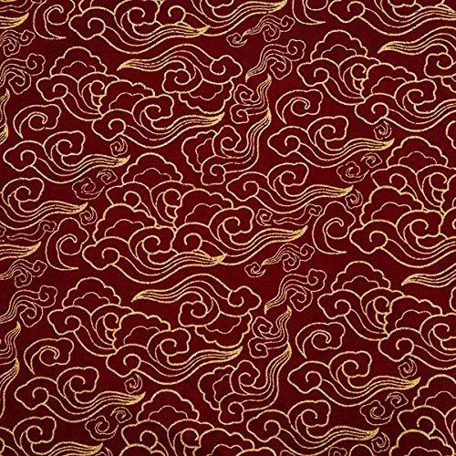 Thimbles Fabrics Tela japonesa dorada 100% algodón, multicolor con hojas doradas en marrón y azul marino para confección de vestidos de 150 cm de ancho (granate/burdeos, metros)