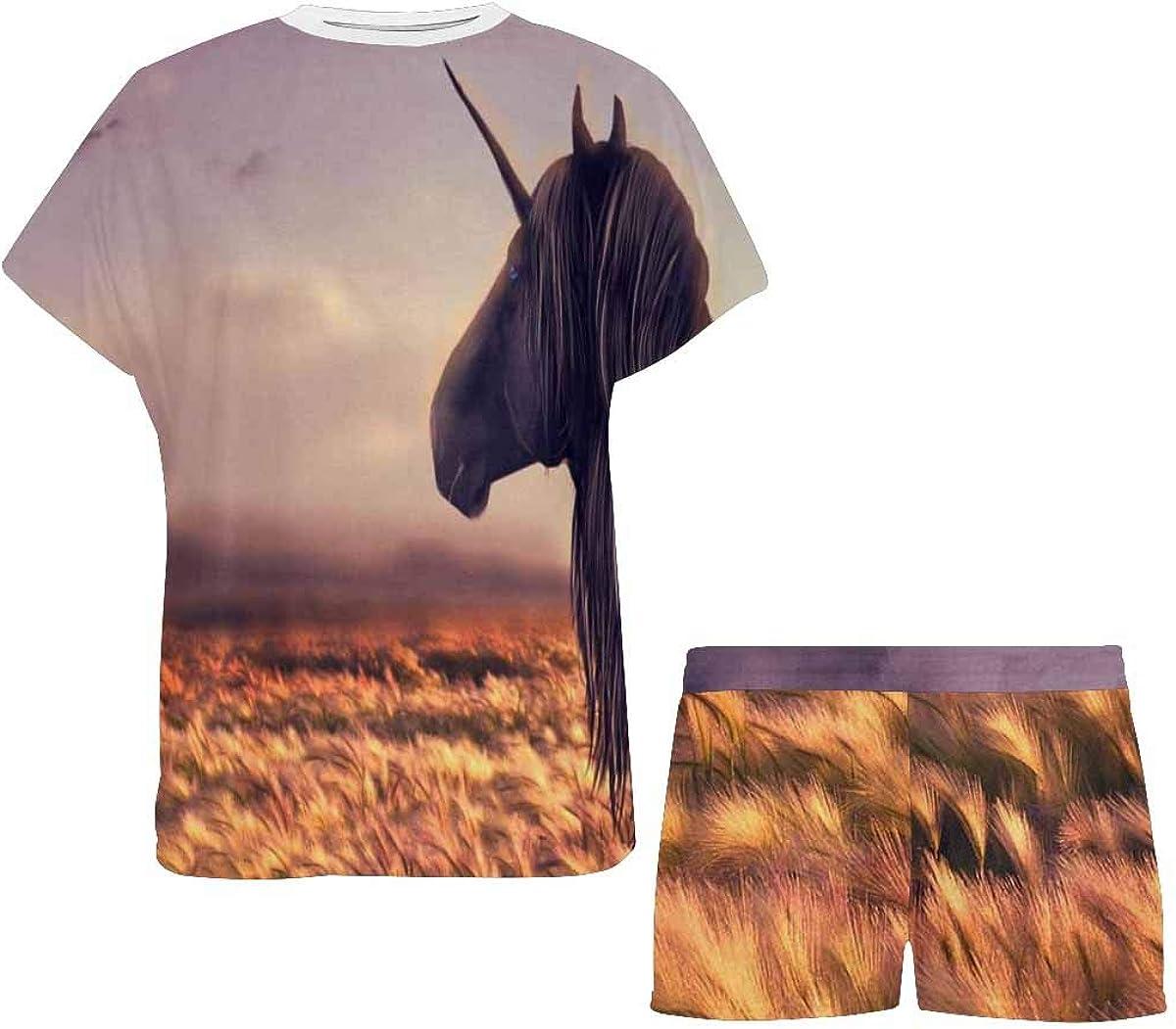 INTERESTPRINT Unicorn Running on Hill on Sunset Women's Breathable 2 Piece Shorts Pajama Sleepwear Set