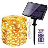 HueLiv Solar String Lights Outdoor Waterproof, 65FT 200 LED Fairy String Light Solar Powered with 8 Modes for Patio Yard Garden Wedding Party Home Decorations