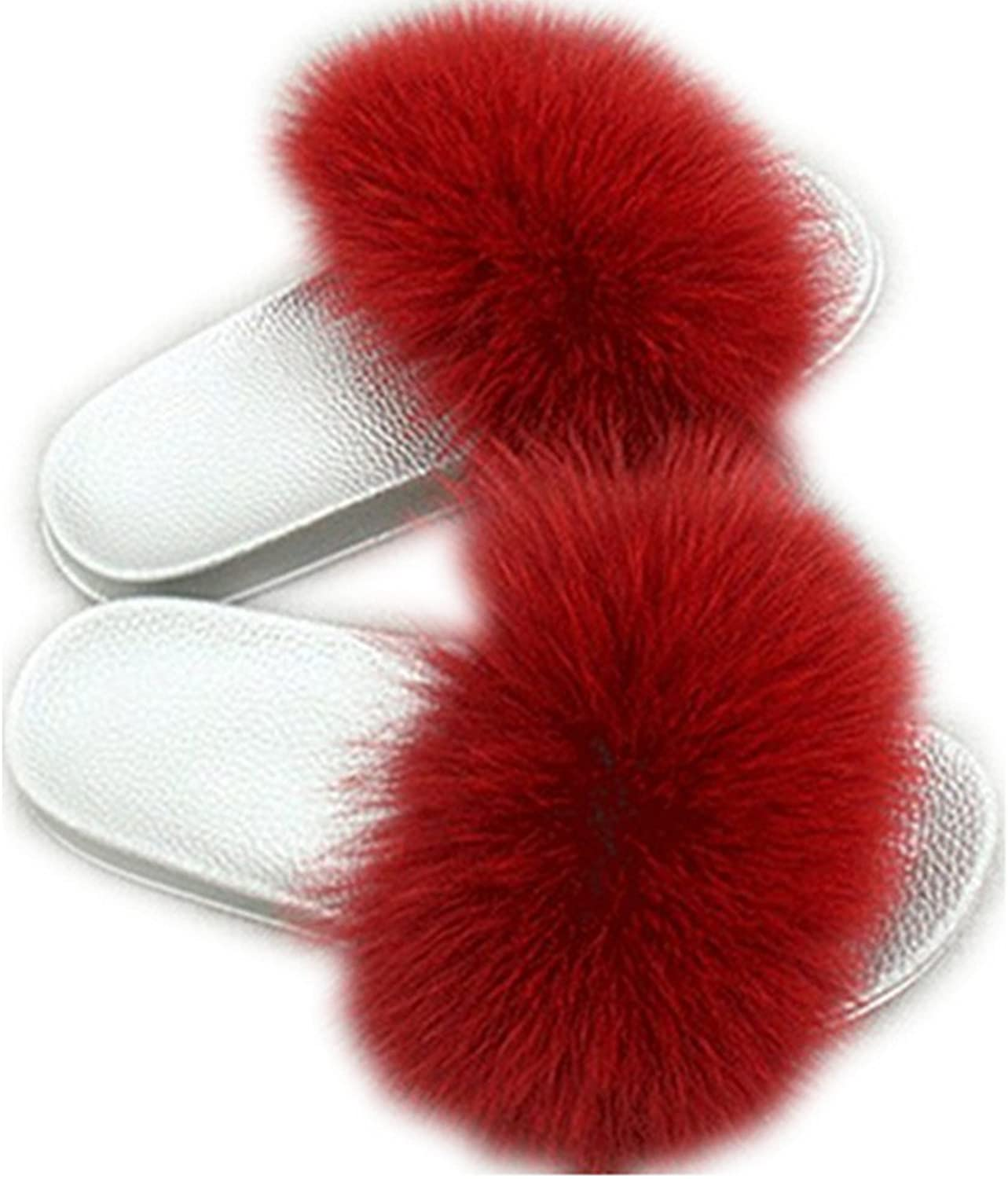 QMFUR Women Real Fox Fur Slippers Fashion Slides Flat Silver Soft Summer shoes for Girls (12, Wine red)