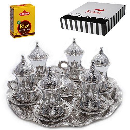 Türkische Teegläser Set Untertassen Halter Löffel verziert (Silber) (Halkali)