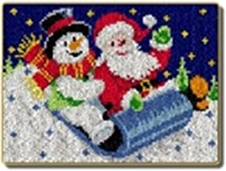 X-xyA Latch Hook Kit, Latch Rug Making Kit for Adults Christmas Rug Santa And Snowman,A,23 inch X 17 inch