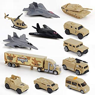BeebeeRun Special Forces Military Vehicles Army Truck Toys for Boys, Mini Die-cast Military Model Cars Toys Set with Tank Panzer Stealth Bomber Helicopter Jets Playset Gift for Kids