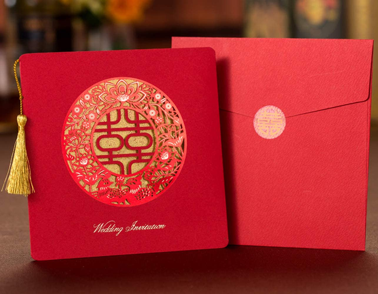 Square Double Happiness Gold Foiling Tassel Wedding All stores are sold Invita Style Animer and price revision