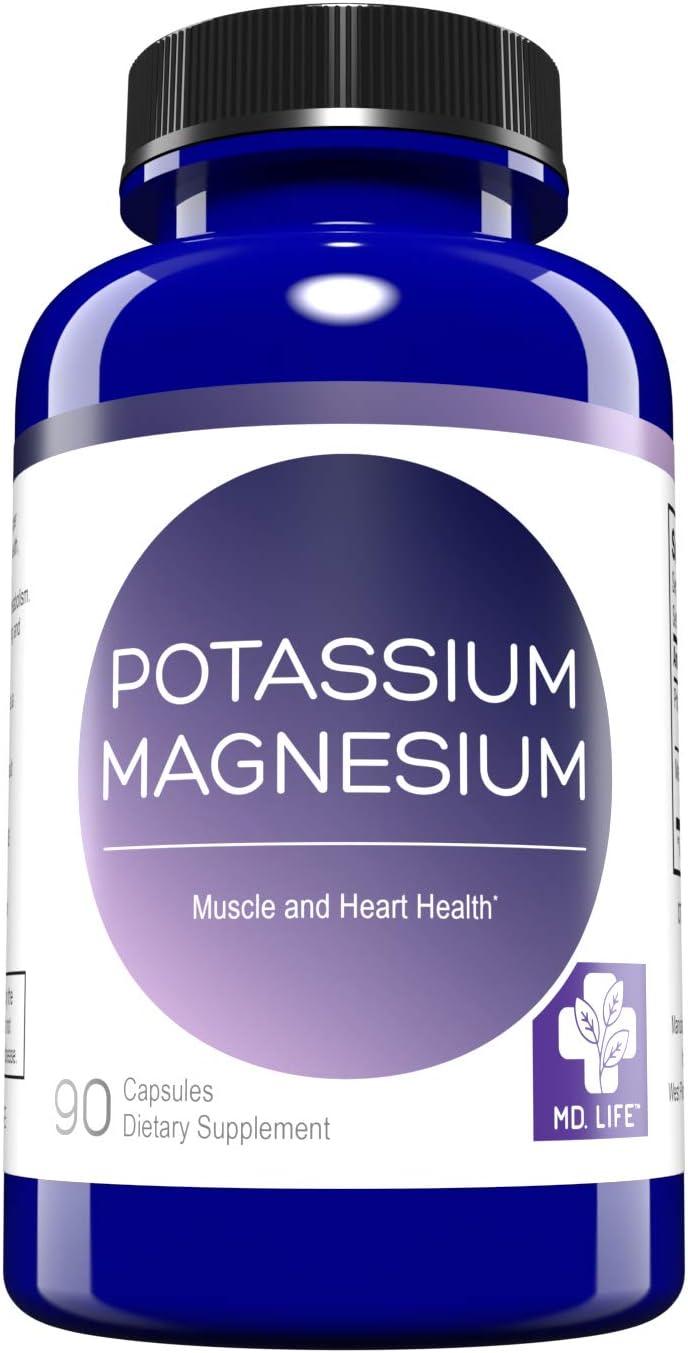 MD. Life Magnesium Potassium Supplement – 90 Capsules - High Absorption Magnesium Complex – Magnesium and Potassium for Vascular Health, Leg Cramps, Magnesium for Sleep – Non-GMO: Health & Personal Care